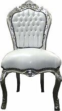 Barock Esszimmer Stuhl Weiß/Silber Ludwig XIV