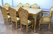 Barock Esszimmer Tisch Stuhl Armlehner in Antik Stil barock LouisXV AIEs0690go