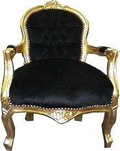 Barock Kinder Stuhl Schwarz/Gold - Armlehnstuhl