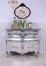 Barock Kommode antik Silber Marmorplatte Schrank
