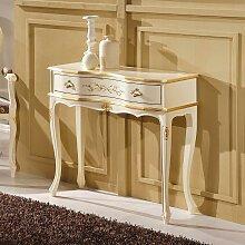 Barock Konsolentisch in Weiß und Goldfarben