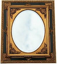 Barock Kunst Wandspiegel oval verzierter Rahmen 50x60 Antik Spiegel gold schwarz