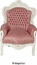 Barock Möbel Barock Sessel weiss/pink gemuster