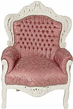 Barock Möbel Barock Sessel weiss/pink