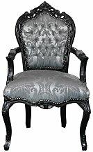 Barock Möbel Barock Stuhl schwarz/silber