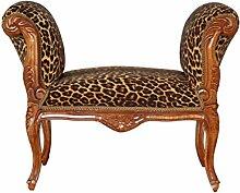 Barock Möbel Vintage Barock Hocker braun/leopard