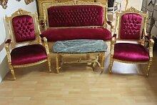 Barock Salon Antik Stil 2 Sessel 1 Sofa 1 Couchtisch mit Marmor-Platte AlSa0316Rd antik Stil Massivholz. Replizierte Antiquitäten von LouisXV Buche (Ahorn, Mahagoni, Eiche) Antikmessing Beschläge, furniert, intarsier