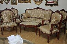 Barock Salon Antik Stil 4 Sessel 1 Sofa 1 Couchtisch mit Marmor-Platte AlSa0339 antik Stil Massivholz. Replizierte Antiquitäten von LouisXV Buche (Ahorn, Mahagoni, Eiche) Antikmessing Beschläge, furniert, intarsier
