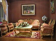 Barock Salon Sofa 3er Sessel Tisch Antik Stil Vp0830