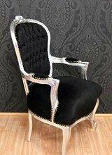 Barock Salon Stuhl Schwarz / Silber