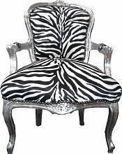 Barock Salon Stuhl Zebra / Silber