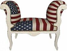 Barock Schemel Hocker USA Design / Creme - Sitzbank USA Flagge