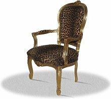 Barock Sessel Blatt gold Bezug Leopard antik Stil Massivholz. Replizierte Antiquitäten von LouisXV Buche (Ahorn, Mahagoni, Eiche) Antikmessing Beschläge, furniert, intarsier
