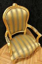 Barock Sessel Blatt gold grüner Bezug