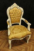 Barock Sessel creme altweiß creme weiß lackiert Blatt goldener Stoffbezug antik Stil Massivholz. Replizierte Antiquitäten von LouisXV Buche (Ahorn, Mahagoni, Eiche) Antikmessing Beschläge, furniert, intarsier