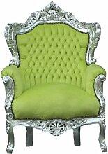 Barock Sessel King Jadegrün/ Silber