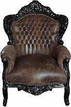 Barock Sessel schwarz/braun