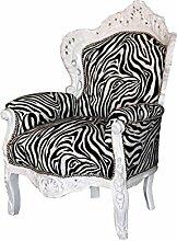 Barock Sessel weiss/zebra