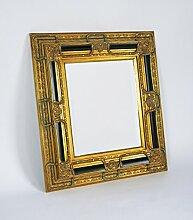 Barock-Spiegel / Wandspiegel antik gold / schwarz, 90 x 100 cm