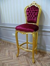 Barock Stuhl Barhocker Prunk-Stuhl Antik Stil AlCh0323GoRdSamt/Velour