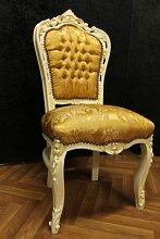 Barock Stuhl in creme altweiß creme weiß Blatt goldener Stoffbezug