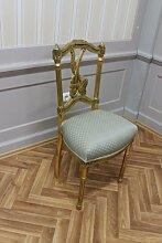 Barock Stuhl Kinderstuhl Antik Stil schlag gold Bezug in hell grün gemuster