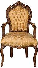 Barock Stuhl mit Armlehne braun/gold-gemuster