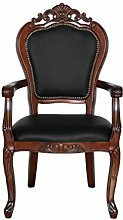 Barock Stuhl Sessel mit Armlehne braun/schwarz