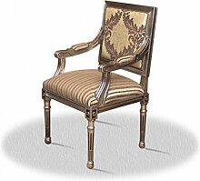 Barock Stuhl Vintage Antik Stil rot Rokoko Blatt silber creme altweiß