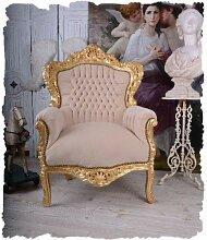 BAROCK Stuhl Vintage Sessel BEIGE Gold
