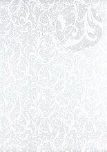 Barock Tapete Atlas PRI-325-5 Vliestapete glatt mit floralen Ornamenten schimmernd silber perl-weiß grau-weiß 5,33 m2