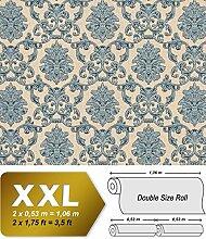 Barock Tapete EDEM 6001-90 Vliestapete geprägt mit Ornamenten glitzernd beige blau-grün grau 10,65 m2