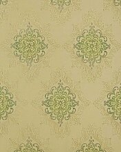 Barock-Tapete EDEM 826-28 hochwertige Tapete opulence ornament elfenbein pastell-grün olive gold | 70 cm