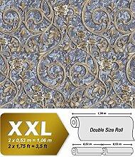 Barock Tapete EDEM 9016-37 Vliestapete geprägt mit floralen Ornamenten und metallischen Akzenten grau tauben-blau blau-grau bronze 10,65 m2