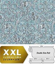 Barock Tapete EDEM 9016-39 Vliestapete geprägt mit floralen Ornamenten und metallischen Akzenten blau türkis silber 10,65 m2