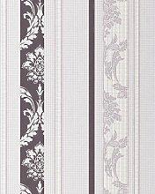 Barock Tapete Streifen-Tapete EDEM 053-24 Damask Relief-Ornamente Flock-Optik grau-violett weiß pastel-lila
