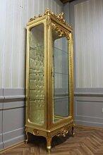 Barock Vitrine Schrank Gold LouisXV AlVi0253GoGo antik Stil Massivholz. Replizierte Antiquitäten von LouisXV Buche (Ahorn, Mahagoni, Eiche) Antikmessing Beschläge, furniert, intarsier