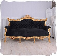 Barocksofa Antik Couch Retro Salon Sofa Schwarz Gold Barockstil