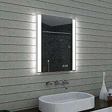 Barriso Design LED Badezimmerspiegel mit Multifunktions Touchschalter 60x70 cm