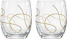 Barski, Glas, mit goldfarbenem Schnur, 2 Gläser,