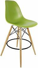 Barstuhl, Buche, Sitzfläche aus Polypropylen, 2 Stück grün