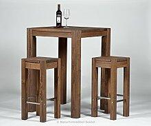 Bartisch + 2 Barhocker, Hochtisch, Bistrotisch, Stehtisch ,,Rio Bonito,, 80x80cm, Pinie Massivholz, geölt und gewachst, Tisch / Hocker Farbton Cognac braun