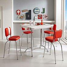 Bartisch Gruppe in Rot und Weiß Retro Look