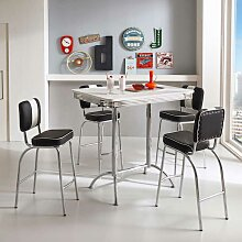 Bartisch mit Stühlen im Retro Look Schwarz Weiß