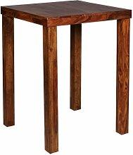 Bartisch MUMBAI Massivholz Sheesham 80 x 80 x 110 cm Bistro-Tisch Landhaus-Stil Holztisch quadratisch dunkel-braun