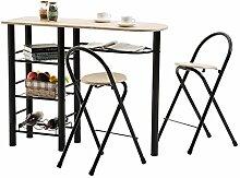 Bartisch Tresentisch STYLE Küchentisch Küchentheke mit Ablagen inklusive 2 Barhocker, Tischplatte sonoma, Gestell schwarz lackier