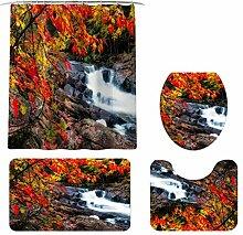 Bascar Duschvorhänge, Teppiche Set Print WC