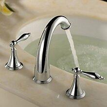 BASCJ Badezimmer Wasserhahn,Badezimmer Waschbecken Armaturen zeitgenössische Messing Chrom