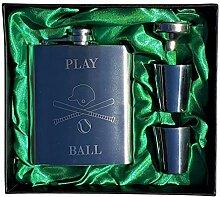 Baseball Play Ball – Flachmann-Set, 200 ml