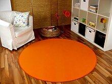 Basic Velours Teppich Carla Orange Rund in 4